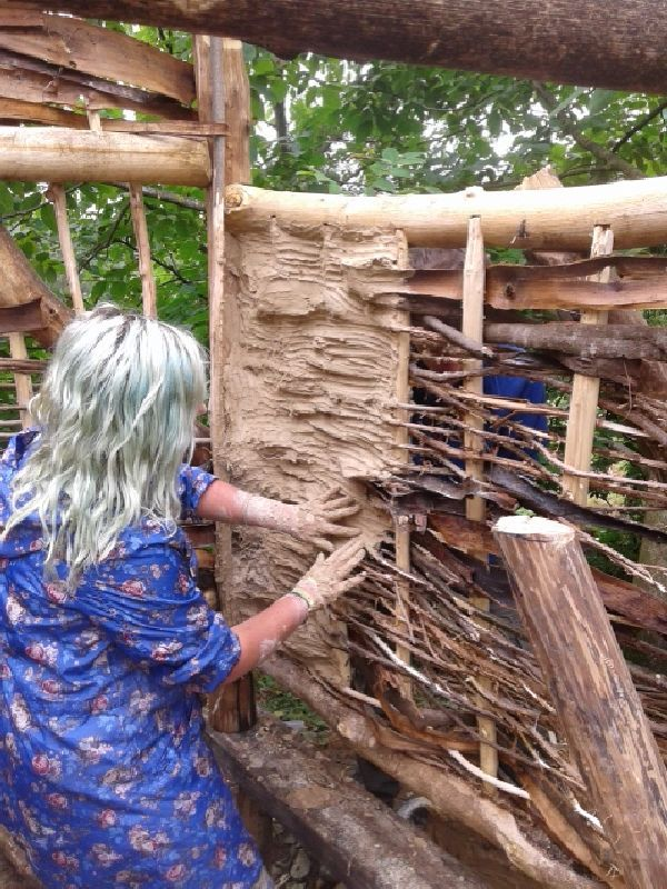 Constructing a rabbit palace with local natural materials