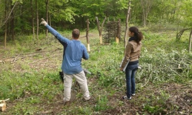 2014: Mark and Kenza marking sunny & shady spots in the forest garden area