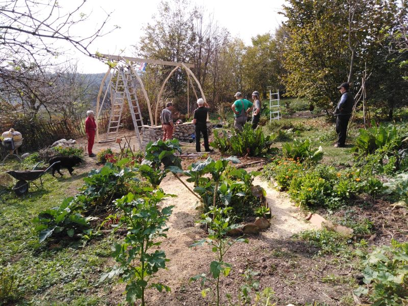 Permaculture greenhouse in the garden