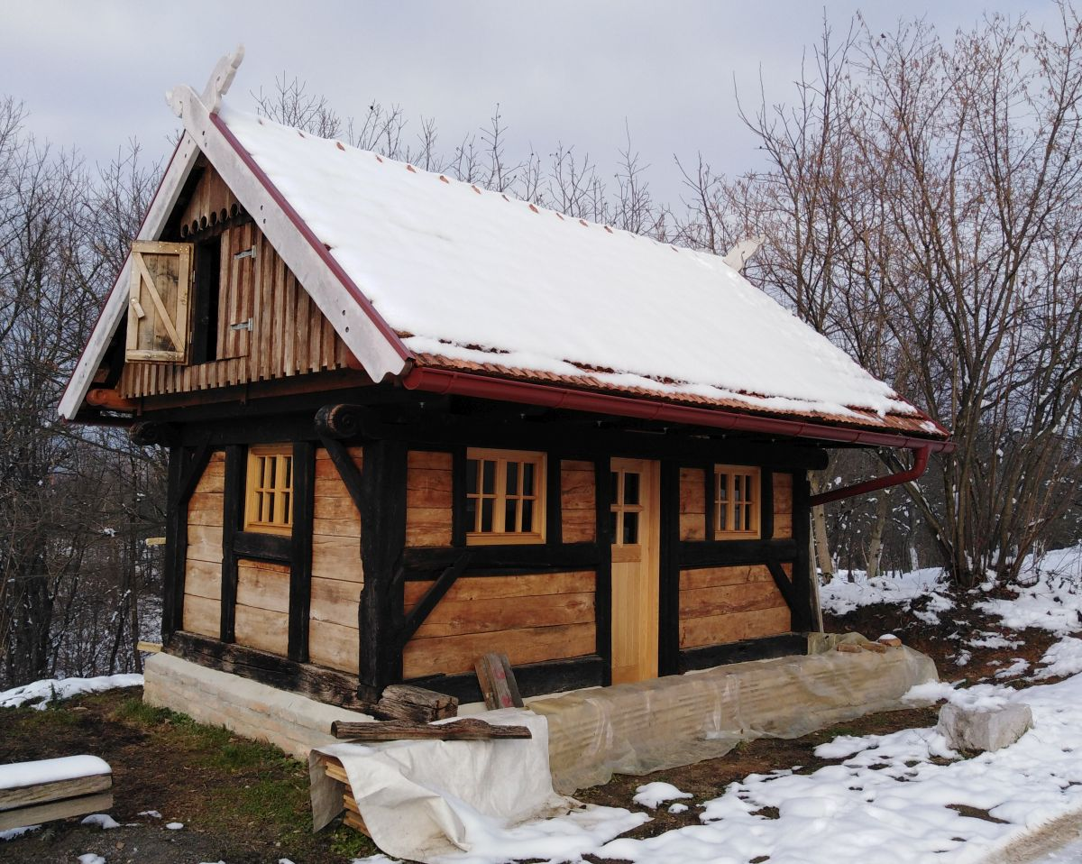 Traditionally built goat stable